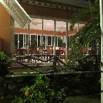 The veranda at night.