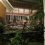 The veranda at night.