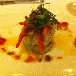 The delicious crab salad appetizer