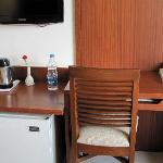 Newly renovated 5th floor room - Work area and the mini bar (softdrinks but no alcohol)