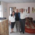 The Hall of Cleopetra Hotel, Shirley (working at the hotel), me, and the Hotel manager