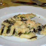 Lobster ravioli with seaweed strips - yum