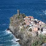 looking down at Vernazza from the trail to The Hermitage