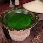 Dye - natural, and plants boiled 12 times to get the rich green colour