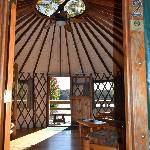 View through the Yurt to the lake