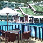 View over pool and breakfast area