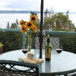 Enjoy a glass of wine outside on your own private deck.