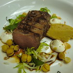 Loin of lamb with chick peas and labneh