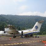 de vliegtuig, met daarachter de jungle