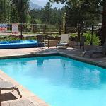 The outdoor heated swimming pool is open seasonally