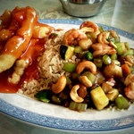 Cashew shrimp, pork fried rice, and sweet and sour chicken