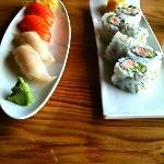Hamachi, California Roll & Sake Nigiri