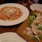 Insalata Caesar Pollo salad and Bucatini Gamberoni pasta