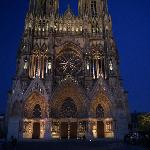 Reims Cathedral at dusk
