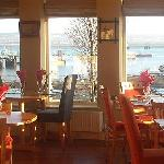 Inside dinning with views of the waterfront