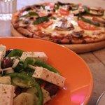 Greek salad and pizza