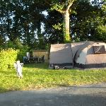 our pitch (with an 8 berth tent and porch)