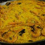 Beautiful Paella on a huge plate