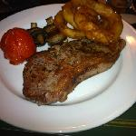 8oz Sirloin steak from the Waggon, cooked and seasoned to perfection! Also accompanied by hand c