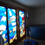 IN ROOM Hot tub and stained glass doors to patio