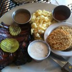 4-bone baby back ribs with mashed potatoes and fried green tomatoes