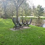 sculptures by one of the lakes