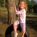 kids had fun swinging on the tire swing!