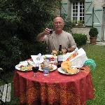 Enjoying the back garden.  A votre santé!
