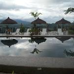 poolside huts, overlooking the hillside