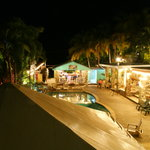 The view from our balcony, toward the Inn and pool area at night.
