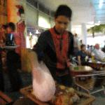 cutting of the meat with plate
