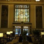 Stained glass accentuates the huge lobby