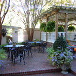 Breakfast patio at the Presidents Quarters