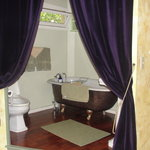 The curtained bathroom!