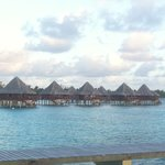 overwater bungalows as seen from the restaurant