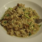 Three grain risotto (spelt, barley and rice) with porcini, zucchini and walnut