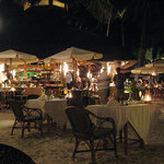 Great outdoor dining right on the beach.