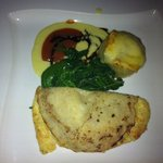 cheese souffle pancake with dauphinoise potatoes and hot tomato fondu - yummy