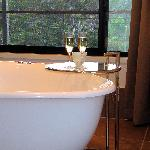 Relax in the double freestanding spa