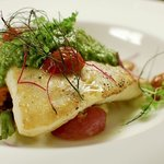 halibut with pesto & roasted tomato