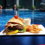 Burger for lunch at pool bar