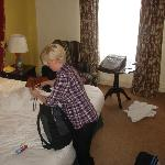 The wife packs up in our room