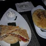 chicken flat bread and shrimp grits