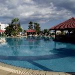 View of hotel pool on last day before its closed for the winter