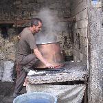 Making huge copper pot in bazaar area
