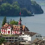 View from the train seeing the Lake Lucerne & Vitznau