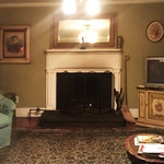 Poor quality due to night & phone camera, but this is the common sitting room, and the fireplace