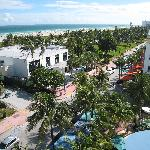 View from the Clevelander roof terrace up Ocean Drive with South Beach