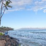 View down the beach towards Lahaina from the pool.
