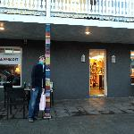 The outside of the cafe has knitting on it--very Icelandic.